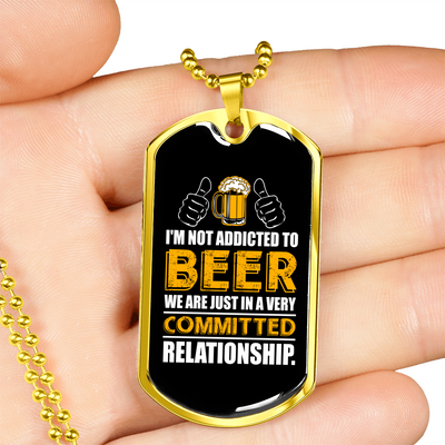 Beer Relationship - 18k Gold Finished Luxury Dog Tag Necklace
