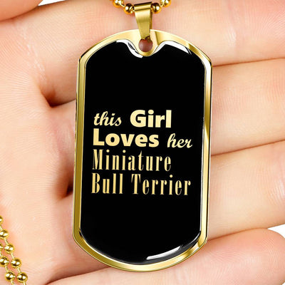 Miniature Bull Terrier v2 - 18k Gold Finished Luxury Dog Tag Necklace