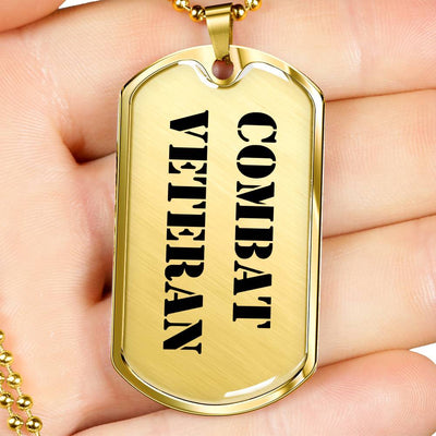 Combat Veteran - 18k Gold Finished Luxury Dog Tag Necklace