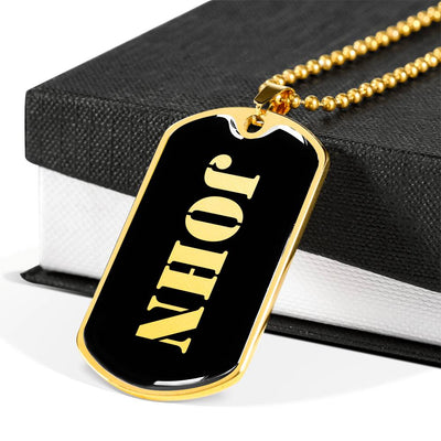 John v1 - 18k Gold Finished Luxury Dog Tag Necklace