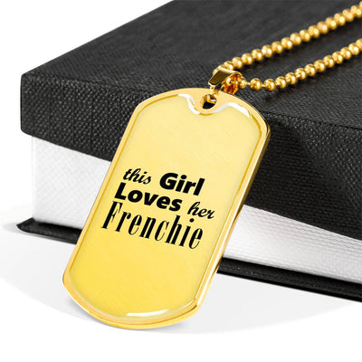 Frenchie - 18k Gold Finished Luxury Dog Tag Necklace