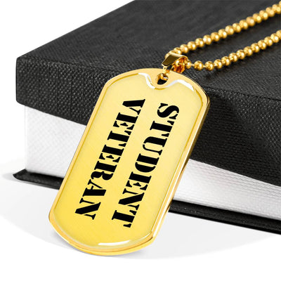 Student Veteran - 18k Gold Finished Luxury Dog Tag Necklace