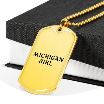 Michigan Girl - 18k Gold Finished Luxury Dog Tag Necklace
