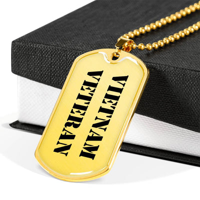 Vietnam Veteran - 18k Gold Finished Luxury Dog Tag Necklace
