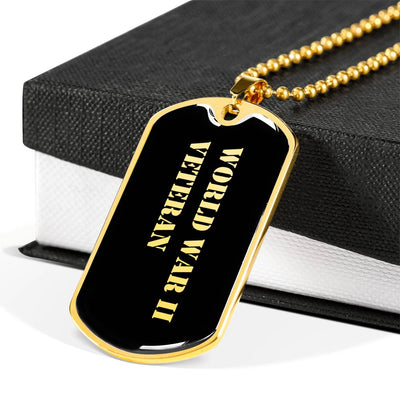 World War II Veteran v2 - 18k Gold Finished Luxury Dog Tag Necklace