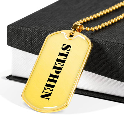 Stephen - 18k Gold Finished Luxury Dog Tag Necklace