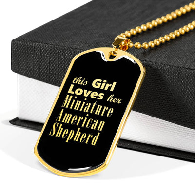 Miniature American Shepherd v2 - 18k Gold Finished Luxury Dog Tag Necklace