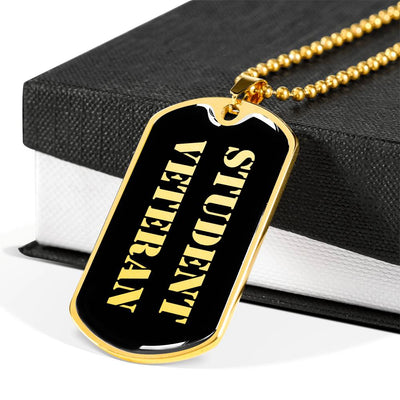 Student Veteran v2 - 18k Gold Finished Luxury Dog Tag Necklace