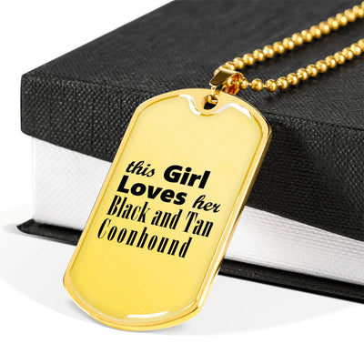 Black and Tan Coonhound - 18k Gold Finished Luxury Dog Tag Necklace