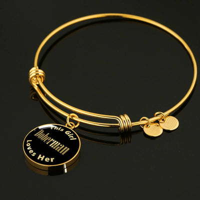 Doberman v1 - 18k Gold Finished Bangle Bracelet