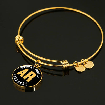 Heart In Arkansas - 18k Gold Finished Bangle Bracelet