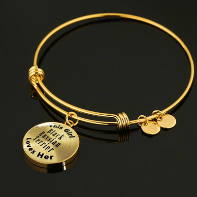 Black Russian Terrier - 18k Gold Finished Bangle Bracelet