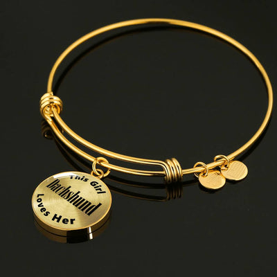 Dachshund - 18k Gold Finished Bangle Bracelet