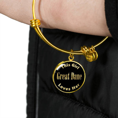 Great Dane - 18k Gold Finished Bangle Bracelet