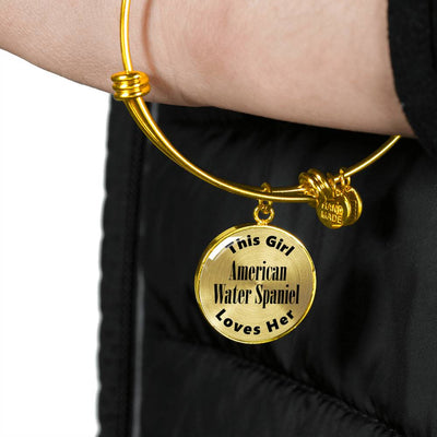 American Water Spaniel - 18k Gold Finished Bangle Bracelet