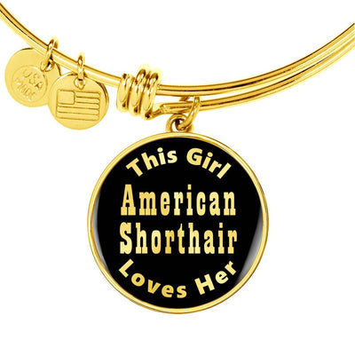 American Shorthair - 18k Gold Finished Bangle Bracelet