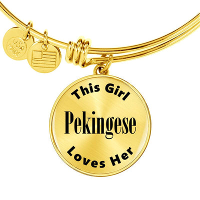 Pekingese - 18k Gold Finished Bangle Bracelet