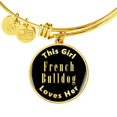 French Bulldog v1 - 18k Gold Finished Bangle Bracelet