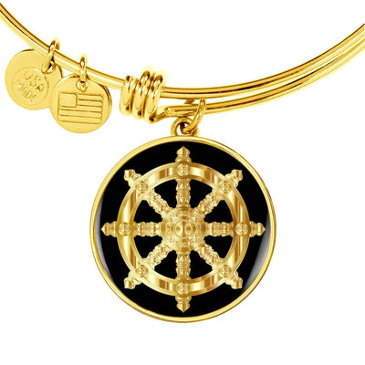 Golden Dharma Wheel - 18k Gold Finished Bangle Bracelet