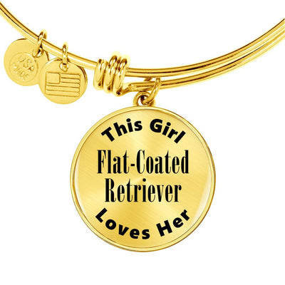 Flat-Coated Retriever - 18k Gold Finished Bangle Bracelet