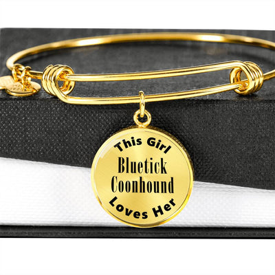 Bluetick Coonhound - 18k Gold Finished Bangle Bracelet