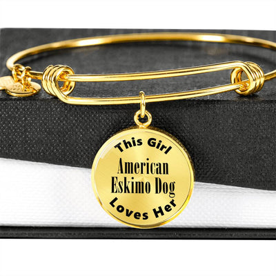 American Eskimo Dog - 18k Gold Finished Bangle Bracelet