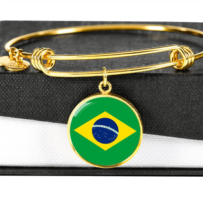 Brazilian Flag - 18k Gold Finished Bangle Bracelet