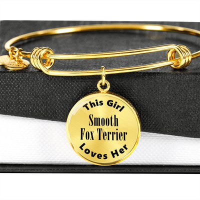 Smooth Fox Terrier - 18k Gold Finished Bangle Bracelet