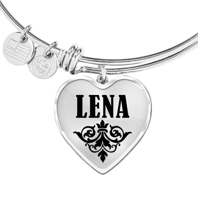 Lena v01 - Heart Pendant Bangle Bracelet