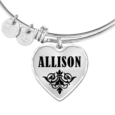 Allison v01 - Heart Pendant Bangle Bracelet