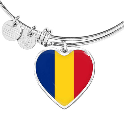 Romanian Flag - Heart Pendant Bangle Bracelet