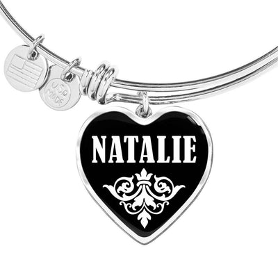 Natalie v02 - Heart Pendant Bangle Bracelet