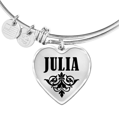 Julia v01 - Heart Pendant Bangle Bracelet