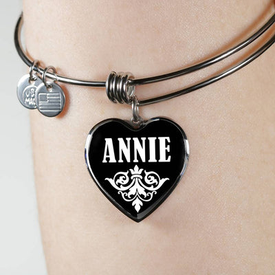 Annie v02 - Heart Pendant Bangle Bracelet