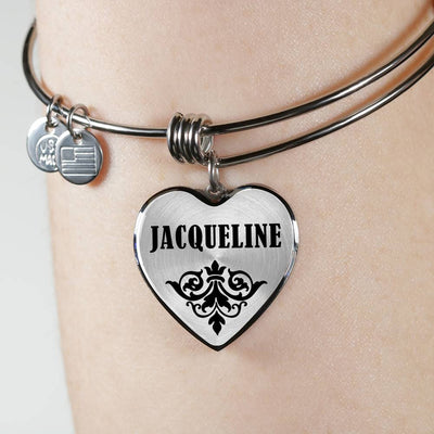 Jacqueline v01 - Heart Pendant Bangle Bracelet