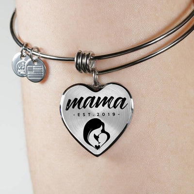Mama, Est. 2019 - Heart Pendant Bangle Bracelet