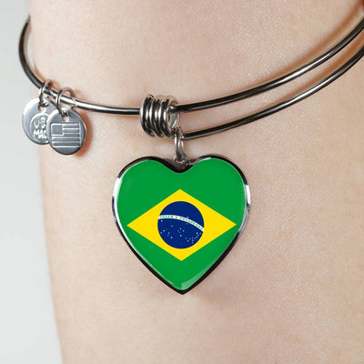 Brazilian Flag - Heart Pendant Bangle Bracelet
