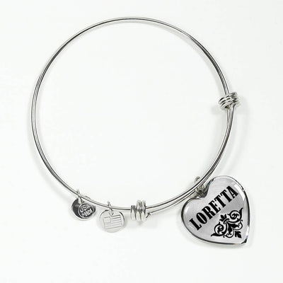 Loretta v01 - Heart Pendant Bangle Bracelet
