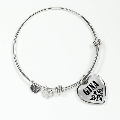 Gina v01 - Heart Pendant Bangle Bracelet
