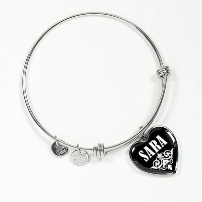 Sara v02 - Heart Pendant Bangle Bracelet