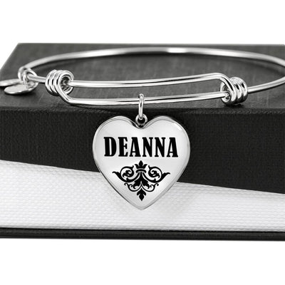 Deanna v01 - Heart Pendant Bangle Bracelet