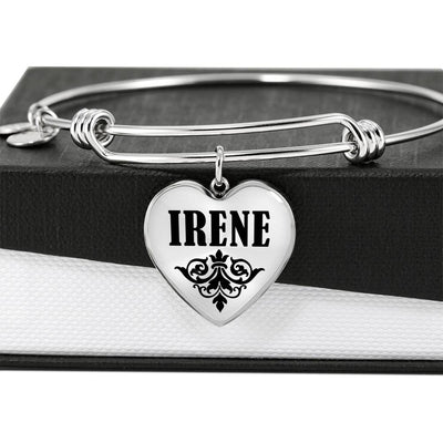 Irene v01 - Heart Pendant Bangle Bracelet