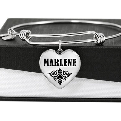 Marlene v01 - Heart Pendant Bangle Bracelet
