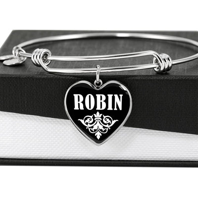Robin v02 - Heart Pendant Bangle Bracelet