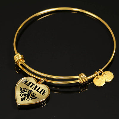 Natalie v01 - 18k Gold Finished Heart Pendant Bangle Bracelet