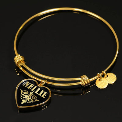 Nellie v02 - 18k Gold Finished Heart Pendant Bangle Bracelet