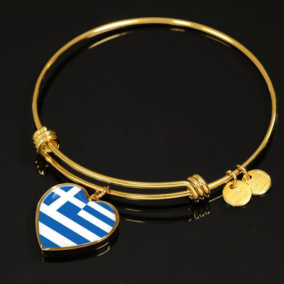 Greek Flag - 18k Gold Finished Heart Pendant Bangle Bracelet