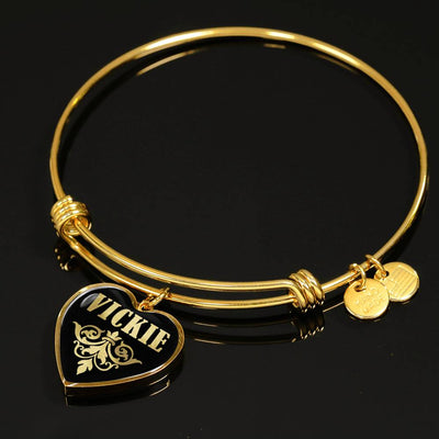 Vickie v02 - 18k Gold Finished Heart Pendant Bangle Bracelet