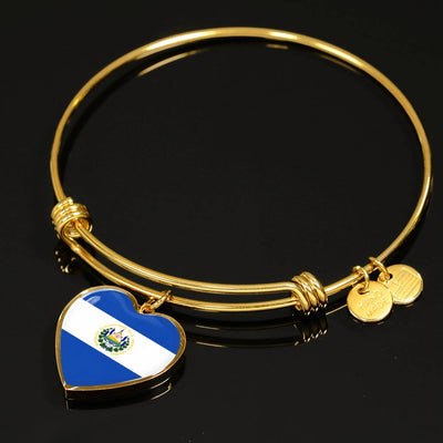 Salvadoran Flag - 18k Gold Finished Heart Pendant Bangle Bracelet