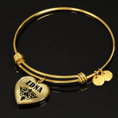 Edna v01 - 18k Gold Finished Heart Pendant Bangle Bracelet